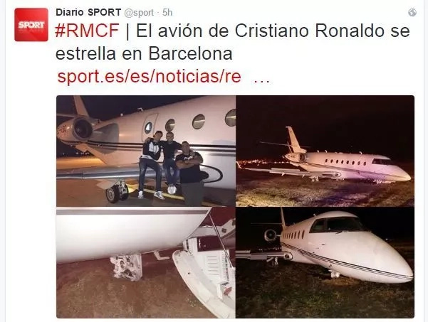Cristiano Ronaldo's plane crash-lands in Barcelona