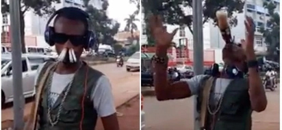 Bizarre! Man smokes 8 cigarettes through his nose and drinks bottle of soda in less than 10 seconds