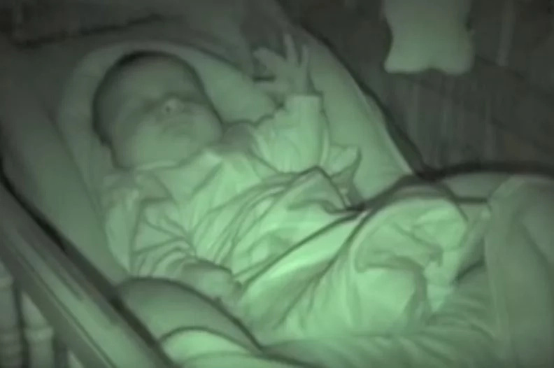 Parents filmed on a hidden camera their baby then they saw this