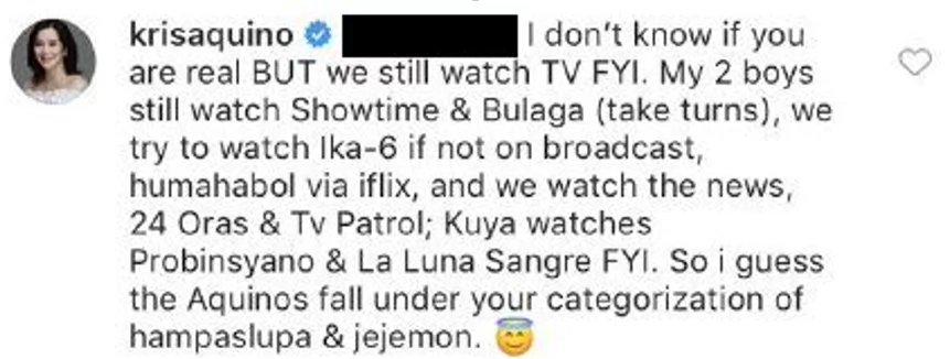 """Kris Aquino's comment over """"elite"""" commenter"""