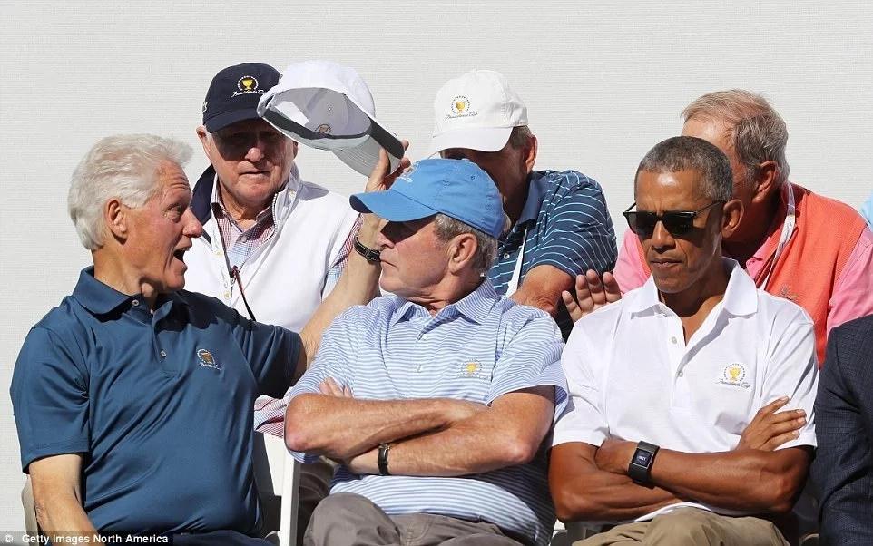 Mpira wa Gofu wawakutanisha Barack Obama, George Bush na Bill Clinton