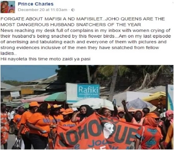 Joho ladies being accused of wrecking peoples marriages