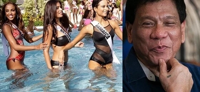 Captivated by Miss Universe candidates! Tough-talking Duterte behaves well while in a room full of beautiful women
