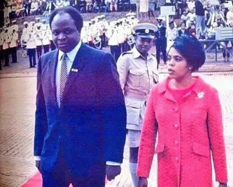 A never before seen photo of Lucy and Mwai Kibaki as a young couple