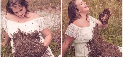 Bizarre! Pregnant mom poses with 20,000 bees on her baby bump in unusual maternity photoshoot