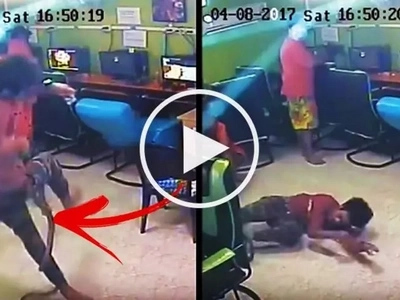Watch a dangerous snake violently attack helpless customers at an internet cafe! What happened next is absolutely terrifying!