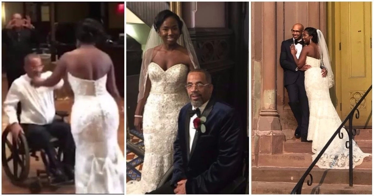 Father on wheelchair dances with daughter on her wedding day in emotional video