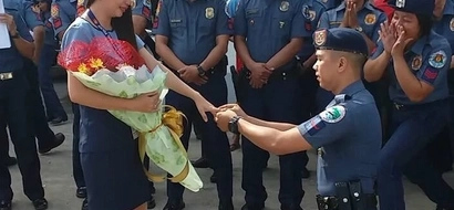 Ang sweet naman! Watch how this romantic cop proposed to girlfriend in front of his many colleagues