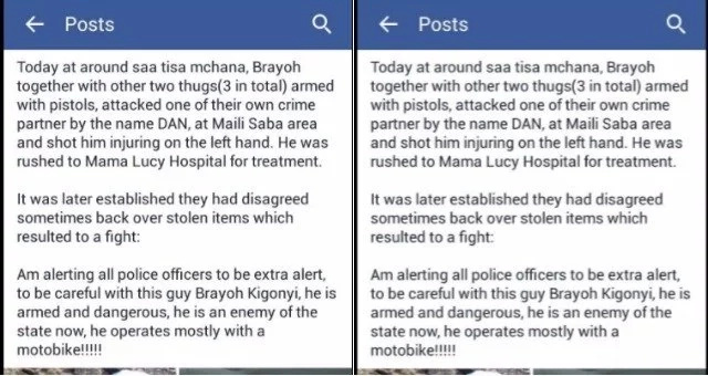 Kenyas 'most-wanted' thug tries to negotiate with killer cop for his life on Facebook in a desperate chat