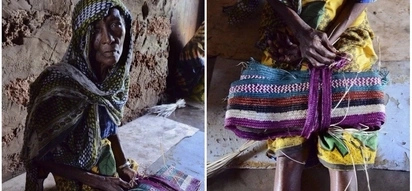 Elderly Kenyan woman known for palm weaving has forgotten the technique because of Alzheimer's