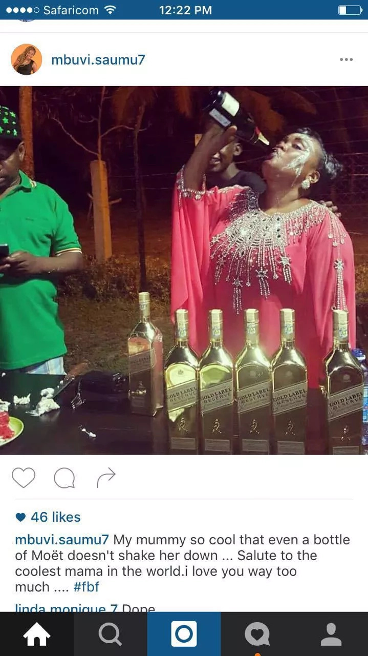 Sonko's wife drinks a whole bottle of Moet as her family looks