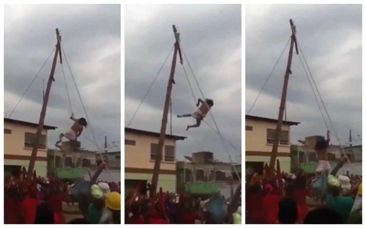 Jesus actor falls off tall cross during Easter celebrations