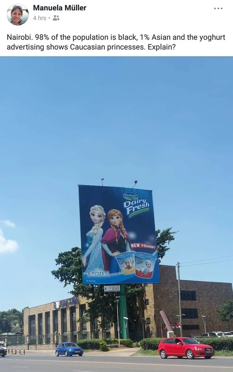 Kenyan's mad at company associated to Uhuru for using foreign charcters in local adverts
