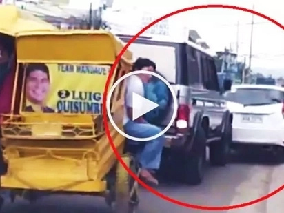 Furious Pinoy driver slams his SUV into car of female driver for causing traffic