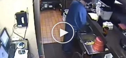 Pizza Hut worker caught urinating into sink - CCTV footage