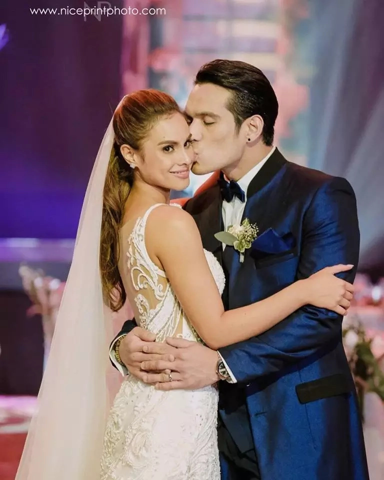 Max Collins wows guests in her Francis Libiran wedding gown