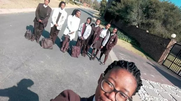 Some of the girls who had been sent home because of their hairstyles. Photo: Twitter/IOL