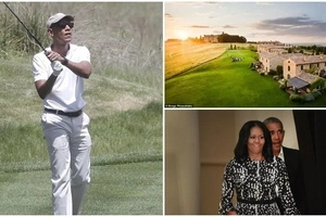 Obama TRUMPS Trump! Ex-President seen golfing during vacation with Michelle at private villa (photos)