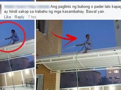 Inabusong OFW? These photos of a Pinay domestic helper cleaning the roof have caused outrage on social media!