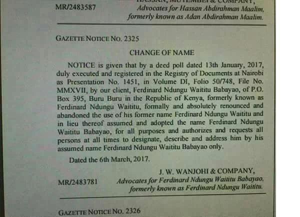 Mbunge Ferdinand Waititu akarabati jina lake