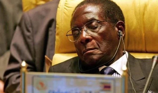 Trump speech apparently puts Mugabe to sleep (pictures)