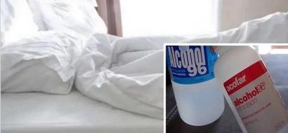 Esta mujer roció alcohol sobre su cama, y no puede creer lo que encontró en la noche!