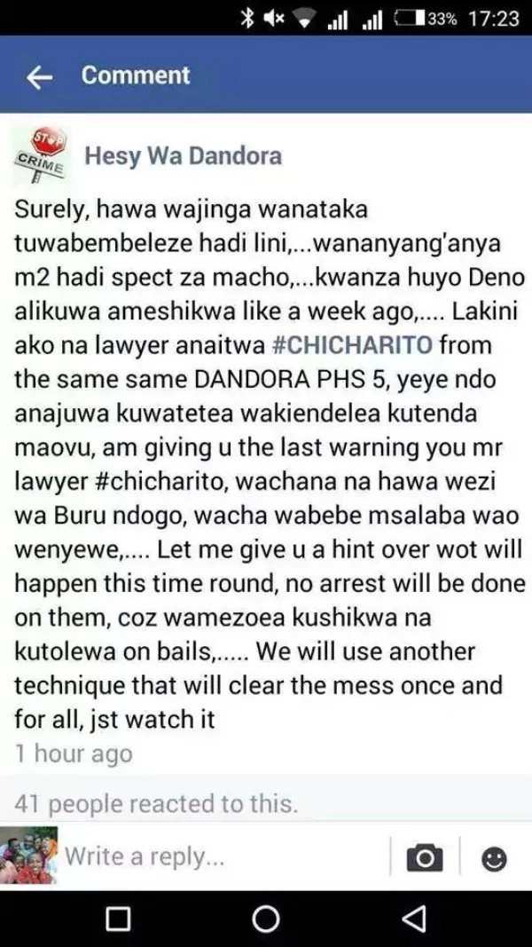 Hessy sends a chilling message to Dandora lawyer who bails out criminal