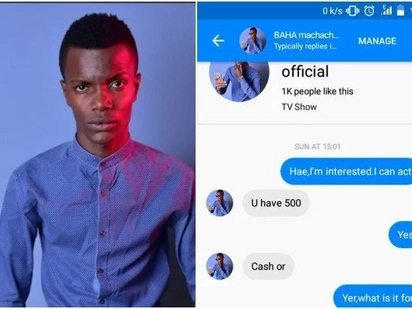 Conniving online user exposed for using Machachari actor Baha's name to extort unsuspecting ladies
