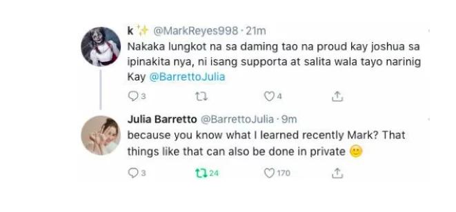 Hindi proud sa achievement ni Joshua Garcia? Julia Barretto's classy response to basher