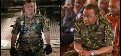 Uhuru surprises everyone at airport after arriving in KDF uniform (photo)