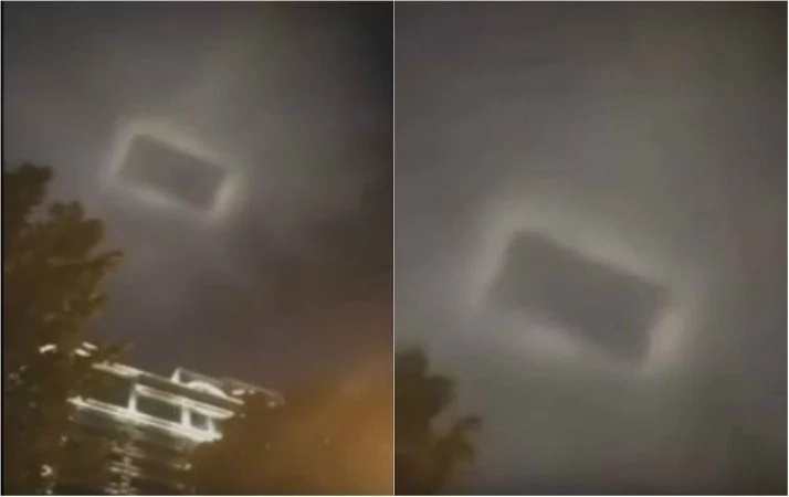 Gateway to another universe! Baffling moment as bizarre rectangular light is observed in the sky