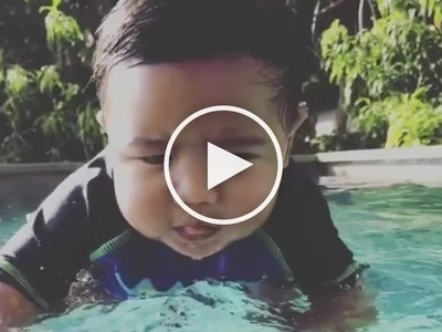 Baby Seve tries to learn the ropes of swimming in this adorable video