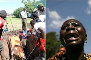 Chaotic scenes in Kisumu as body of man is exhumed after 2 months (photos)