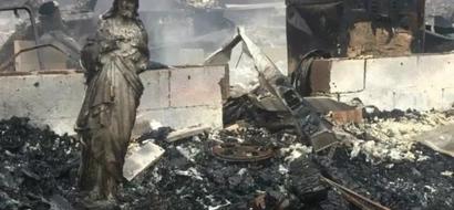 ¿Un milagro de Dios? Incendio mata a 11 personas pero deja intacta estatua de Jesús
