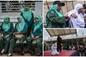 See smiling Sharia policewomen who arrest female transgressors and decide how many LASHES they get (photos)