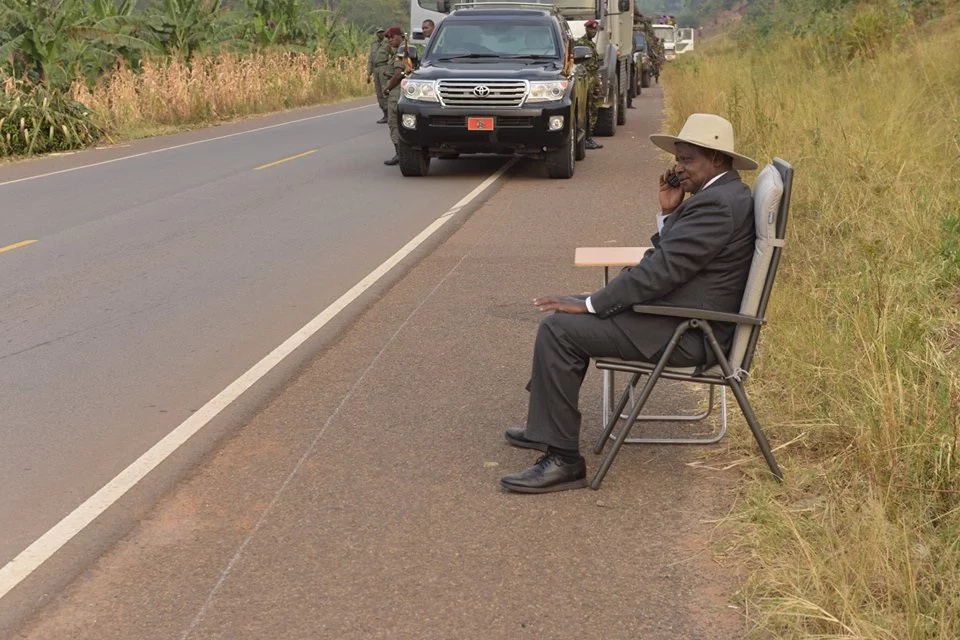 The day a woman sat on President Museveni's  lap in public (video)