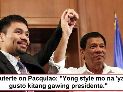Bet talaga siya ni Digong! Duterte thinks Manny Pacquiao will make a good president someday