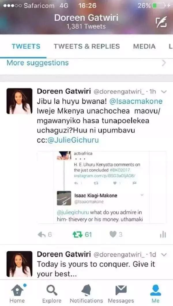 Julie Gichuru atetewa baada ya kuchefuliwa na ujumbe wa Tweeter