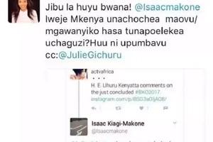 Wakenya wataka aliyemwandikia Julie Gichuru ujumbe wa kumshutumu akamatwe