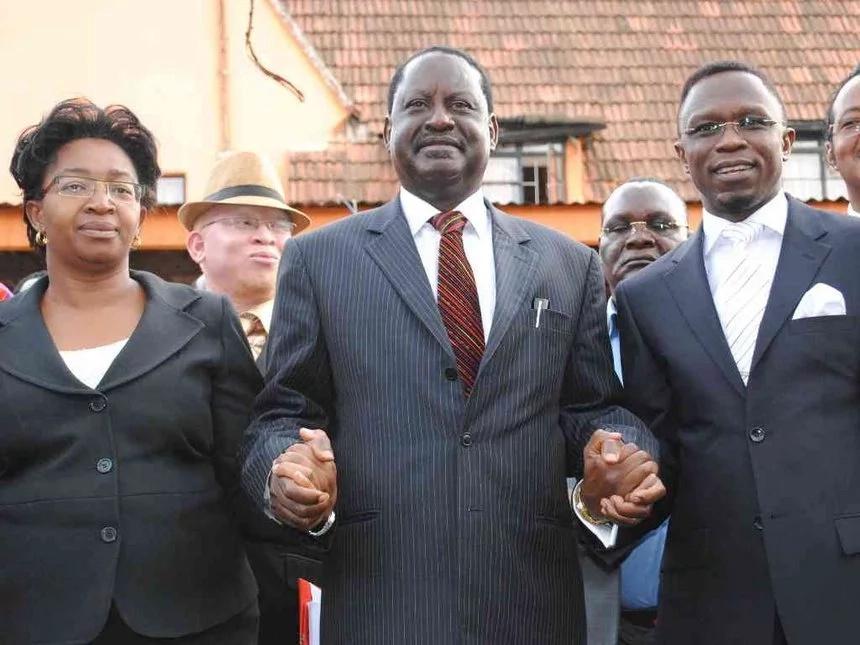 ODM secretary general Agnes Zani, Raila Odinga and Ababu Namwamba. Photo: Star