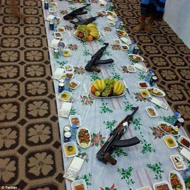 Final meal: Around 145 ISIS militants are thought to have sat down for the 'iftar' meal in Mosul, Iraq, but only 100 walked away alive