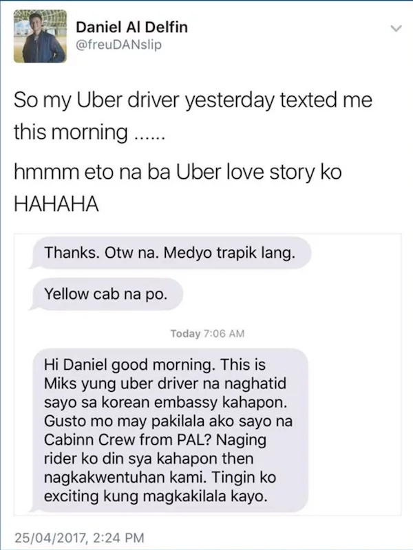 Netizen shares encounter with Uber Driver who tried to set him up with a date