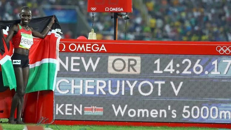 Vivian Cheruiyot wins gold in 5000m as Obiri takes silver