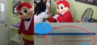 Jollibee participates in a physical examination and here are his shocking results!