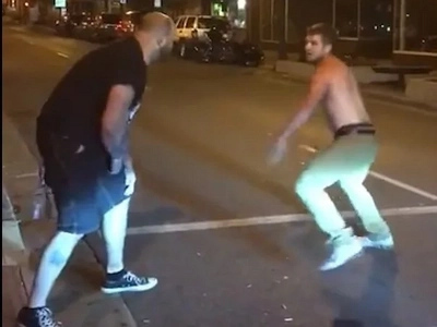 Bouncer uses Mayweather's signature move to knock out aggressive man