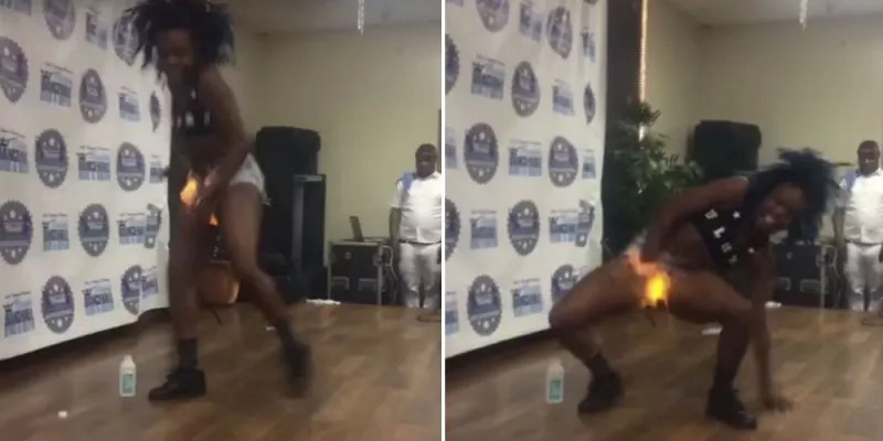 Dancer burns her crotch after stunt back fires