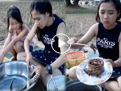 Beautiful Asian girls show how to cook SNAKE in the village goes viral