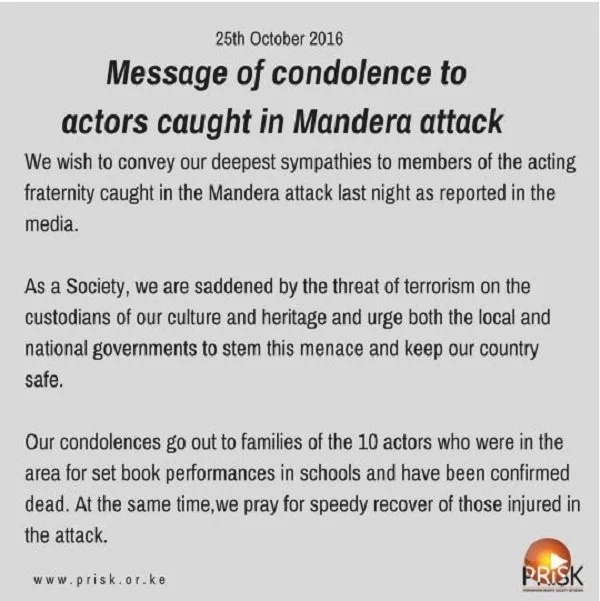 Kenyan artists mourn the 10 actors killed in Mandera