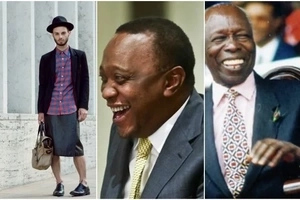 Uhuru attends same meeting with man wearing a skirt and open shoes(photo)