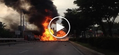 School bus collided with truck carrying butane, explosion caught on video!
